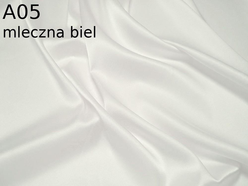 Tkanina jedwabna satyna elastyczna w kolorze białym