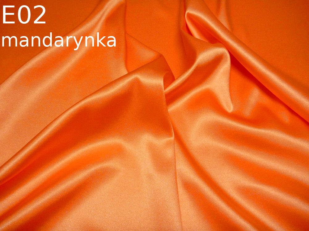 Tkanina jedwabna satyna elastyczna w kolorze pomarańczowym