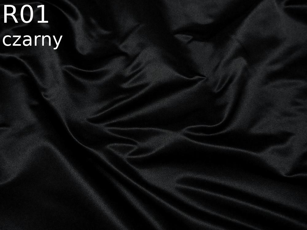 Tkanina jedwabna satyna elastyczna w kolorze czarnym