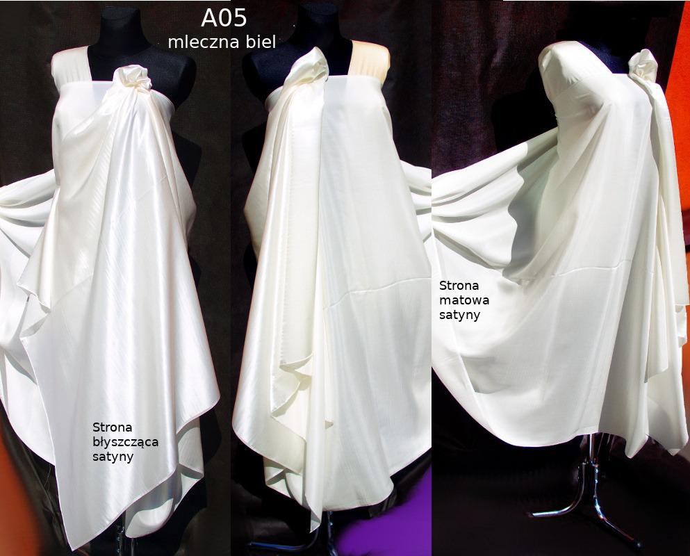 Tkanina jedwabna satyna w kolorze białym
