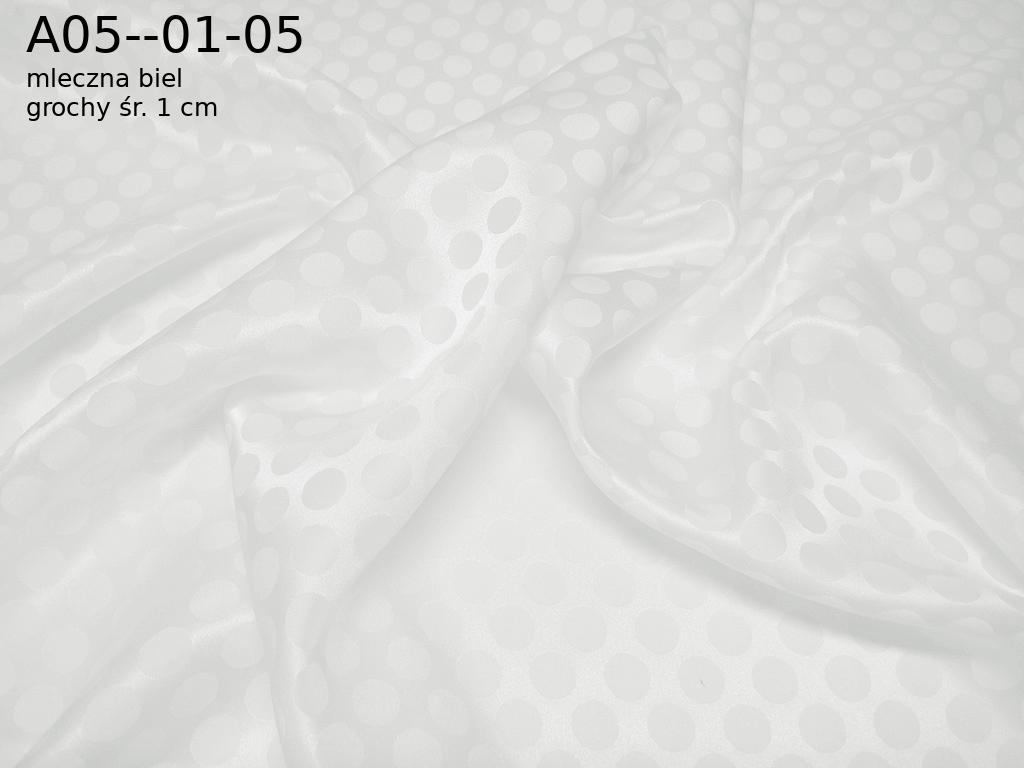 Tkanina jedwab 100% adamaszek w kolorze białym grochy o średnicy ok. 1 cm
