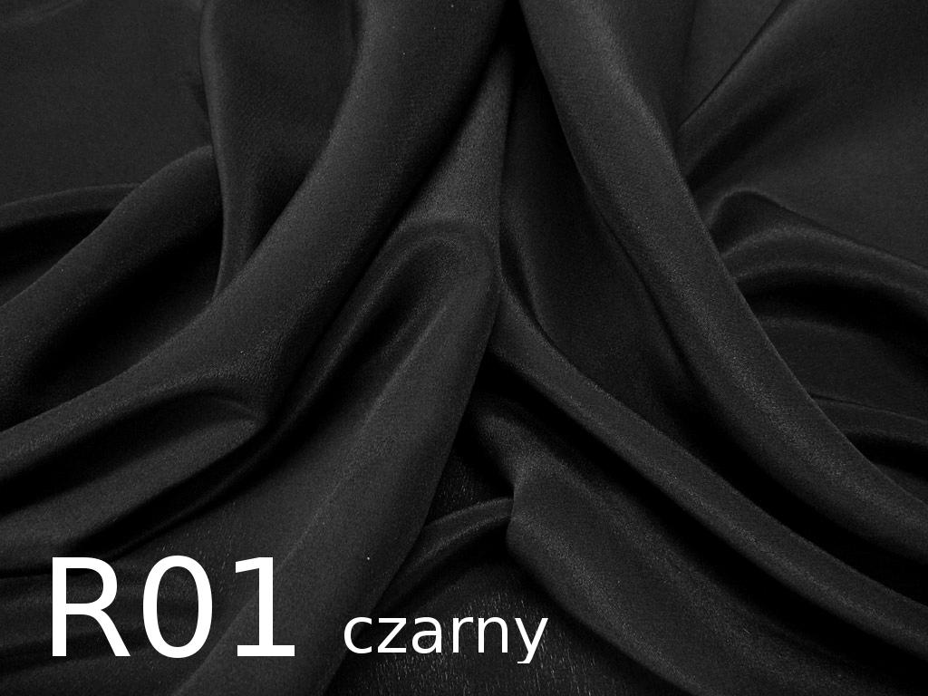 Tkanina jedwabna krepa w kolorze czarnym