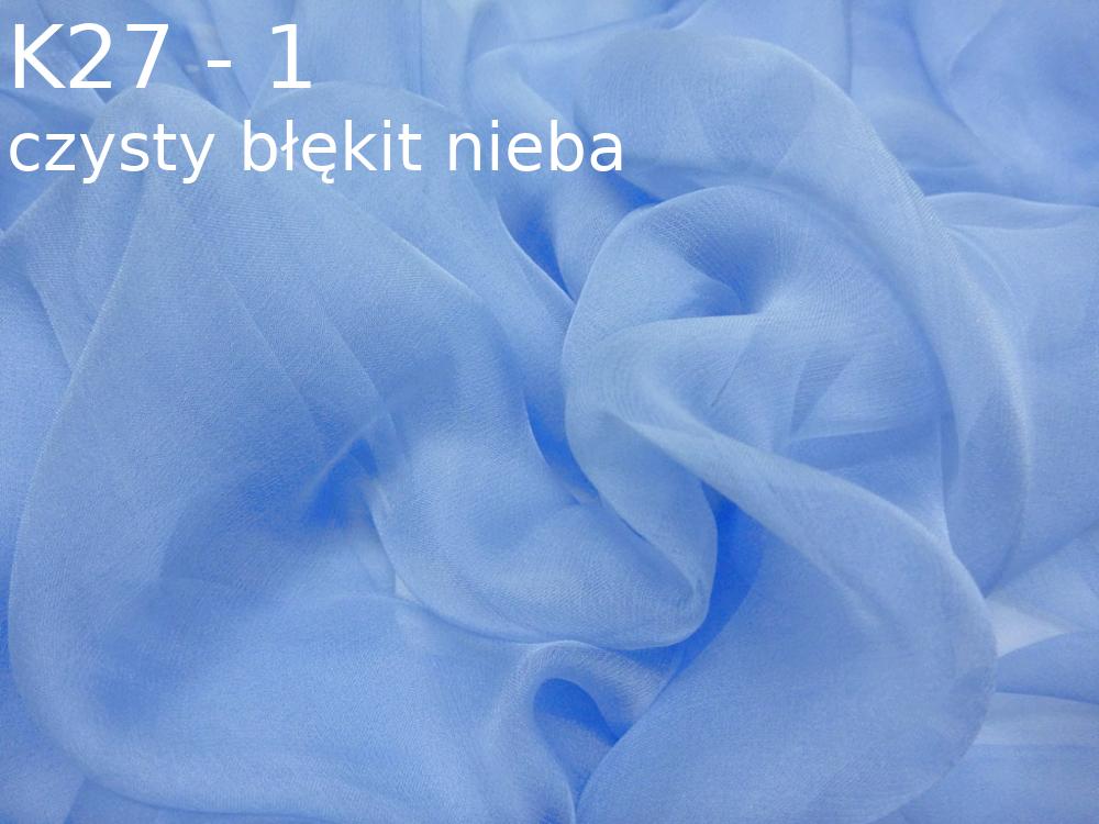 Tkanina jedwabna szyfon w kolorze niebieskim