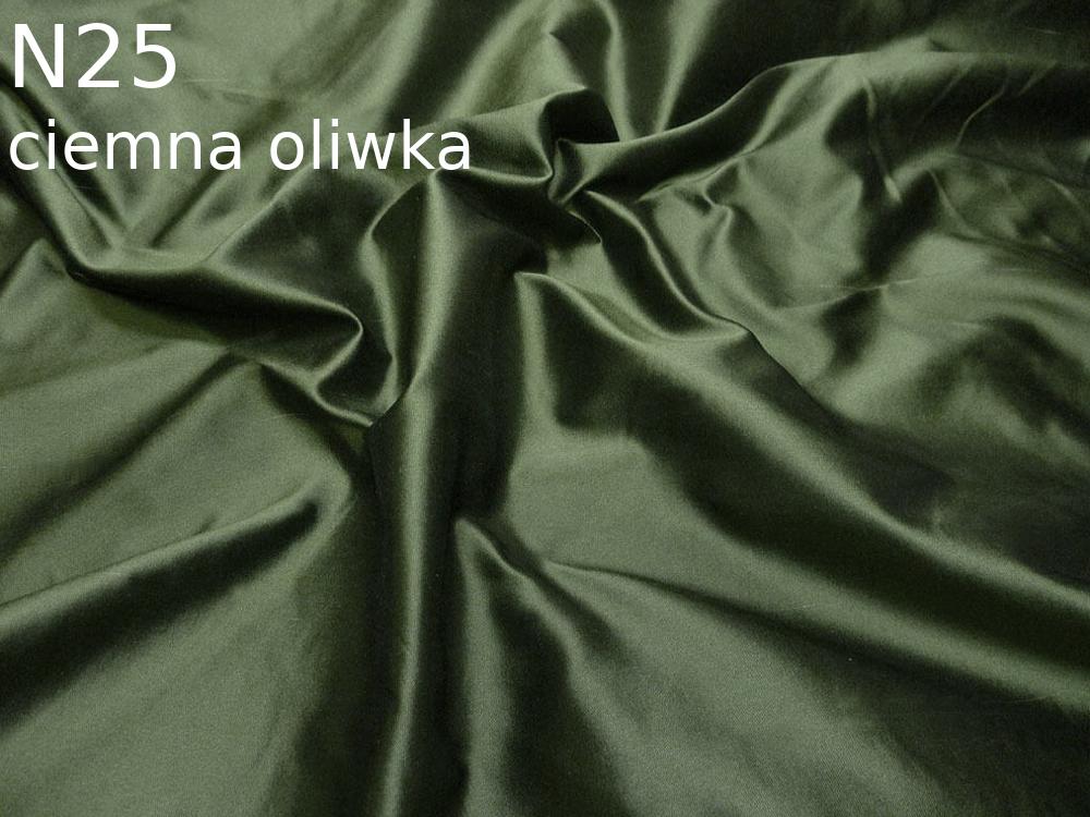 Tkanina jedwabna tafta w kolorze oliwkowym